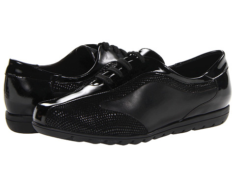 Vaneli - Amity (Black Nappa/Black Smack Patent) Women's Lace-up Bicycle Toe Shoes