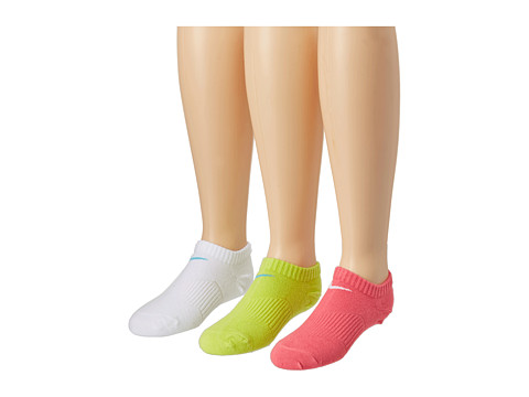 Nike Kids - Lightweight Cotton Cushion Moisture Management No Show 3-Pair Pack (Toddler/Little Kid/Big Kid) (Dynamic Pink/White/White/Gamma Blue/Cyber/Gamma Blu