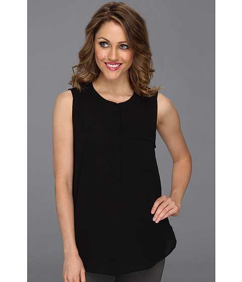NYDJ - Sleeveless Georgette Blouse w/ Pleated Back (Black) Women