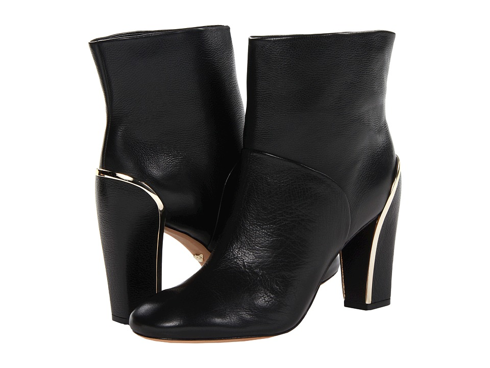 Diane von Furstenberg - Glenda (Black Grainy Tumbled Calf/Gold) Women's Dress Pull-on Boots