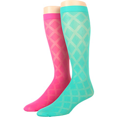 SALE! $16.99 - Save $13 on Kate Spade New York Diamond Sheer Knee High (2 Pack) (Fiji Green Bazooka Pink) Footwear - 43.37% OFF $30.00