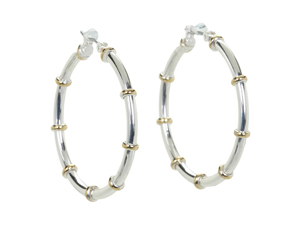 LAUREN Ralph Lauren - Medium Hoops w/ Gold Rings (Gold/Silver) Earring