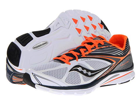 Saucony - Kinvara 4 (White/Navy/Orange) Men's Running Shoes