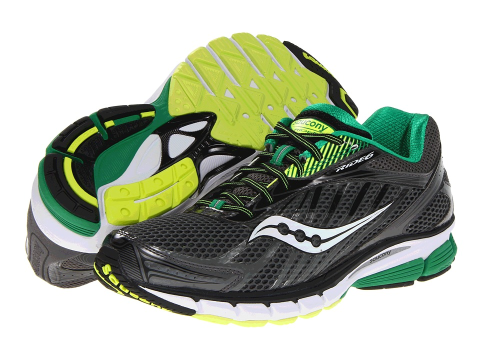 Saucony - Ride 6 (Grey/Green/Citron) Men's Running Shoes