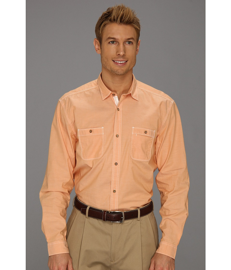 Scott James - Finn 13 L/S Shirt (Orange) Men's Long Sleeve Button Up