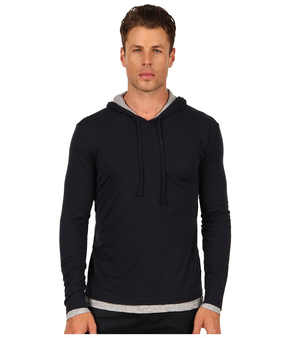 Vince - Double Layer Cotton Hoodie (Coastal Blue) Men's Sweatshirt