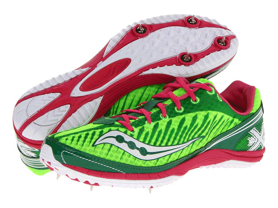 Saucony - Kilkenny XC5 Spike W (Green/Pink) Women's Running Shoes