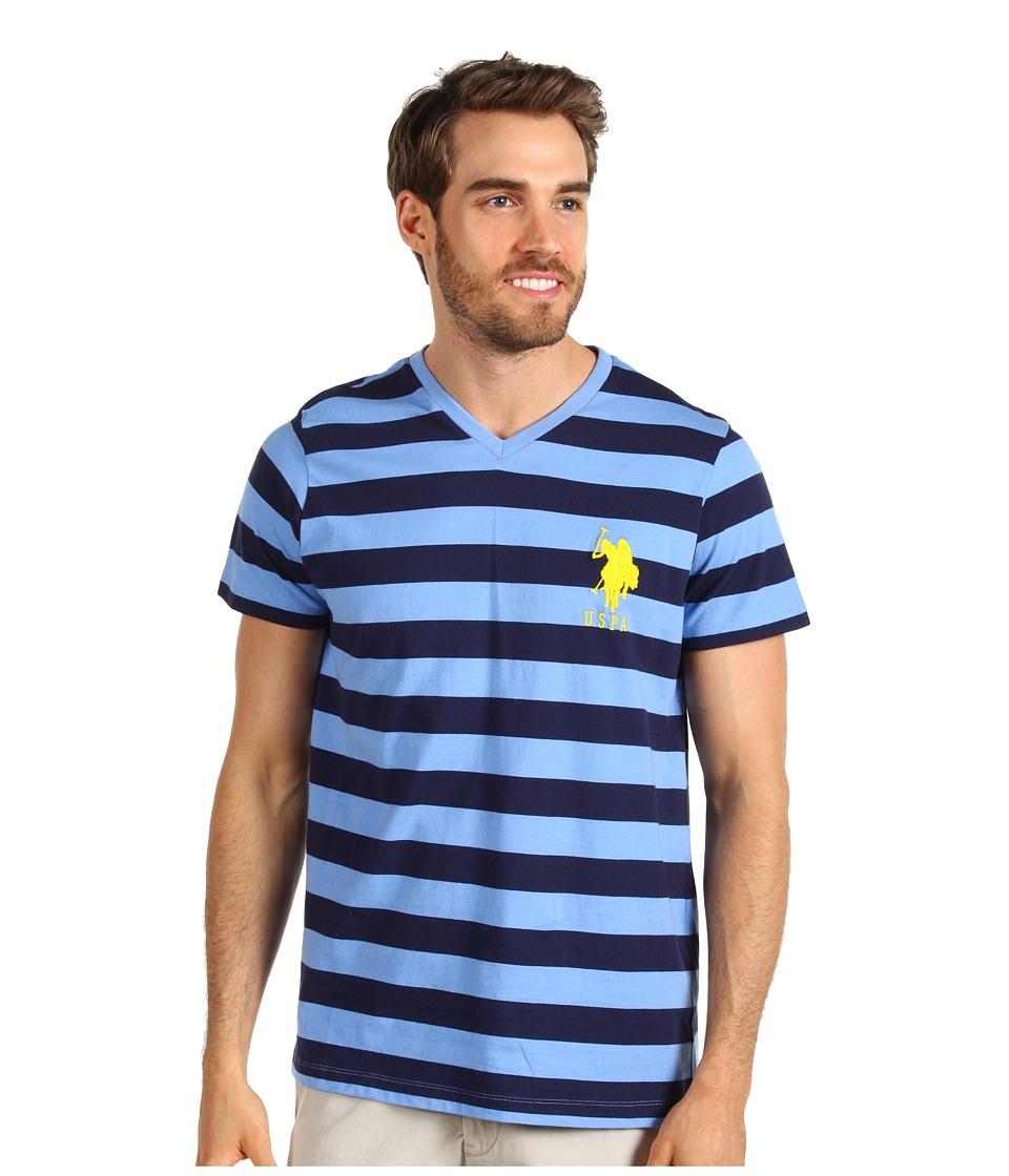 Us Polo Assn V Neck T Shirt With Medium Stripe Mens T Shirt Blue