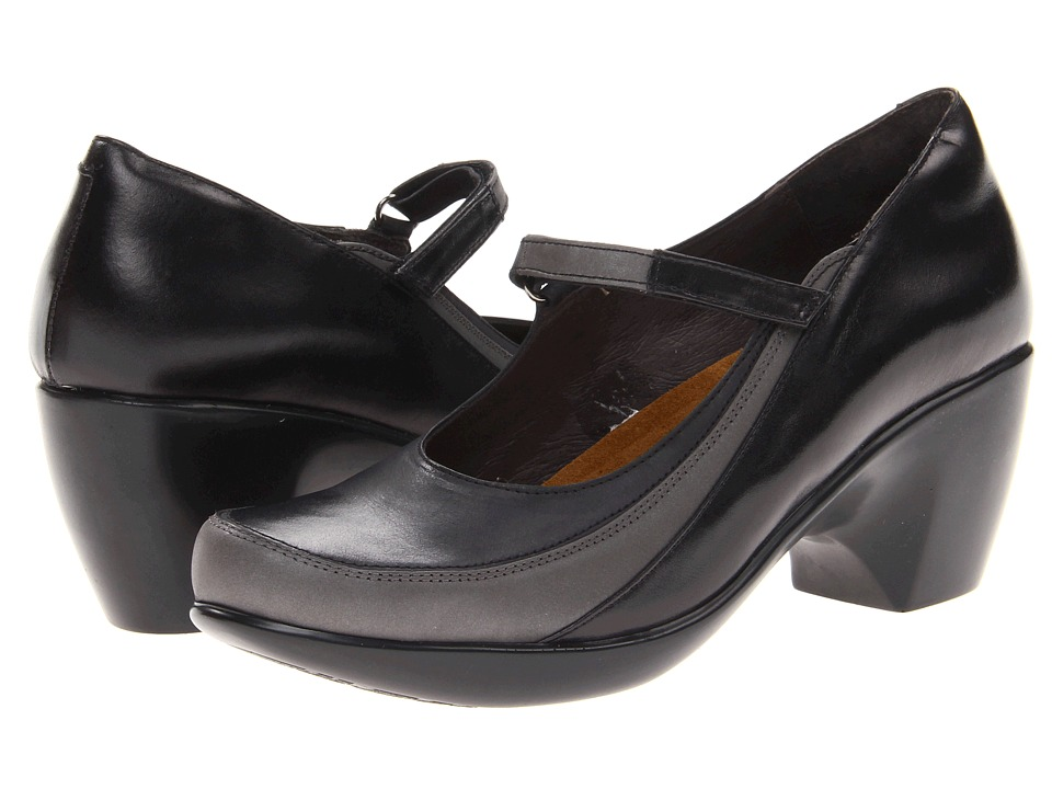 Naot Footwear - Amaze (Black Madras Leather/Brushed Black Leather/Shadow Gray Nubuck) Women's Maryjane Shoes