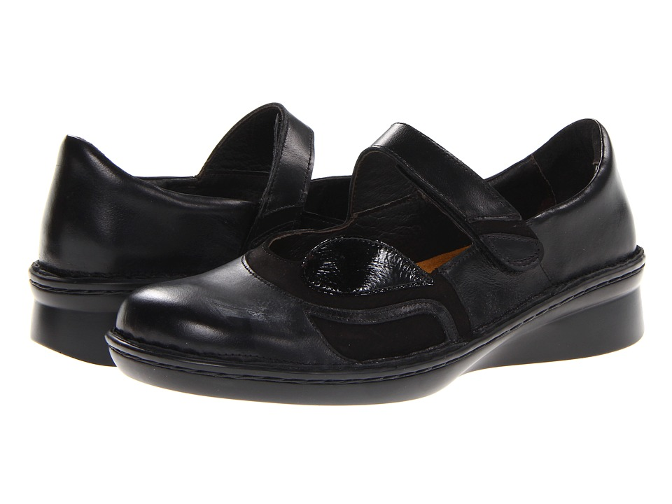 Naot Footwear - Conga (Black Madras Leather/Black Velvet Nubuck/Black Patent Leather) Women's Shoes