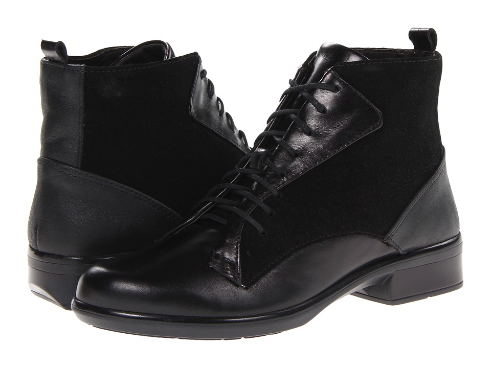 Naot Footwear - Mistral (Black Madras Leather/Black Suede/Shiny Black Leather) Women's Boots