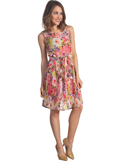 SALE! $71.99 - Save $166 on Three Dots Pleated Sleeveless Dress (Multi) Apparel - 69.75% OFF $238.00
