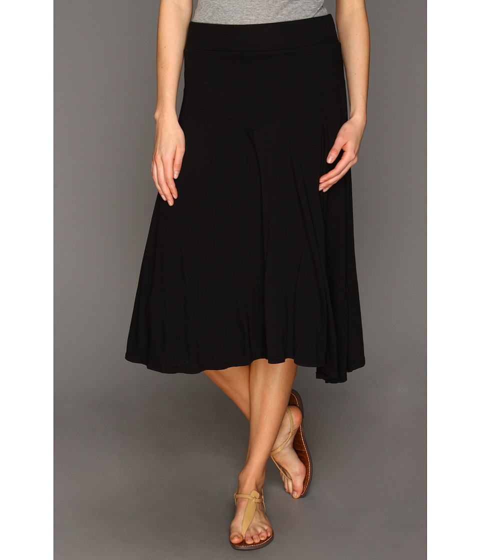Three Dots - Jersey Colette Double Layer Tea Length Skirt (Black) Women