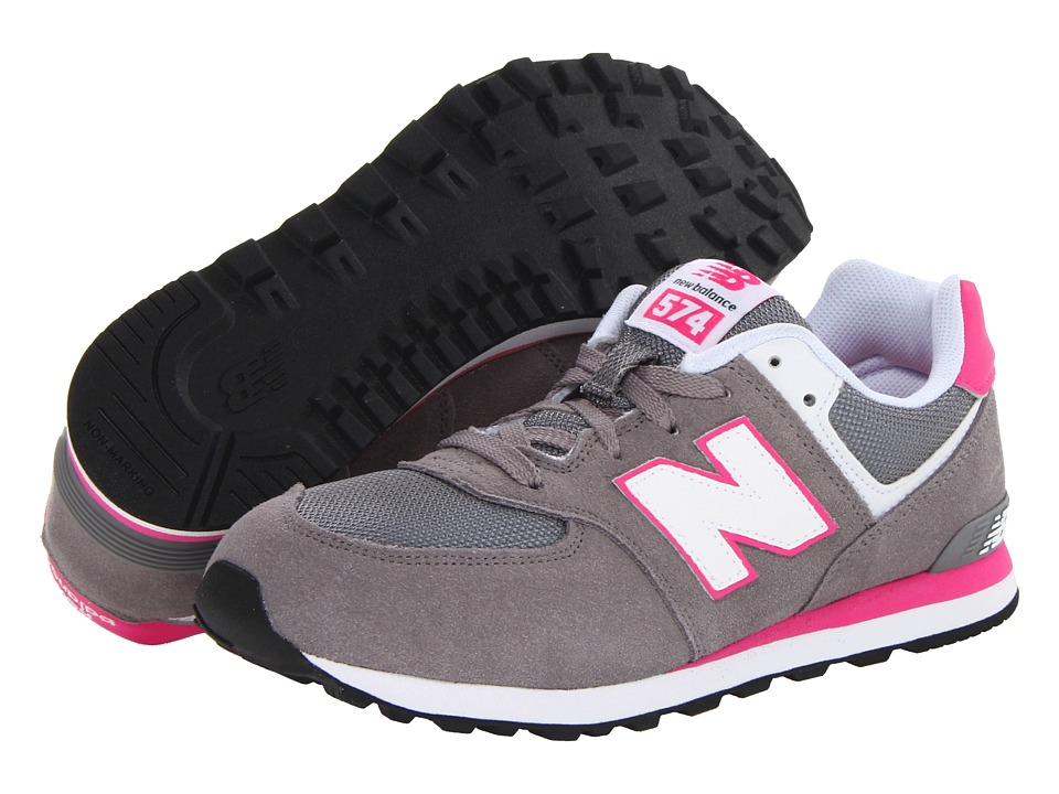 New Balance Kids - KL574 (Big Kid) (Grey/Pink) Girls Shoes