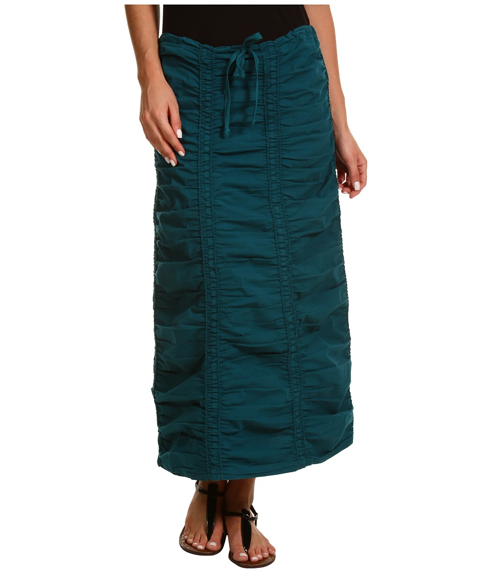 XCVI - Stretch Poplin Double Shirred Panel Skirt (Caspian Blue) Women's Skirt