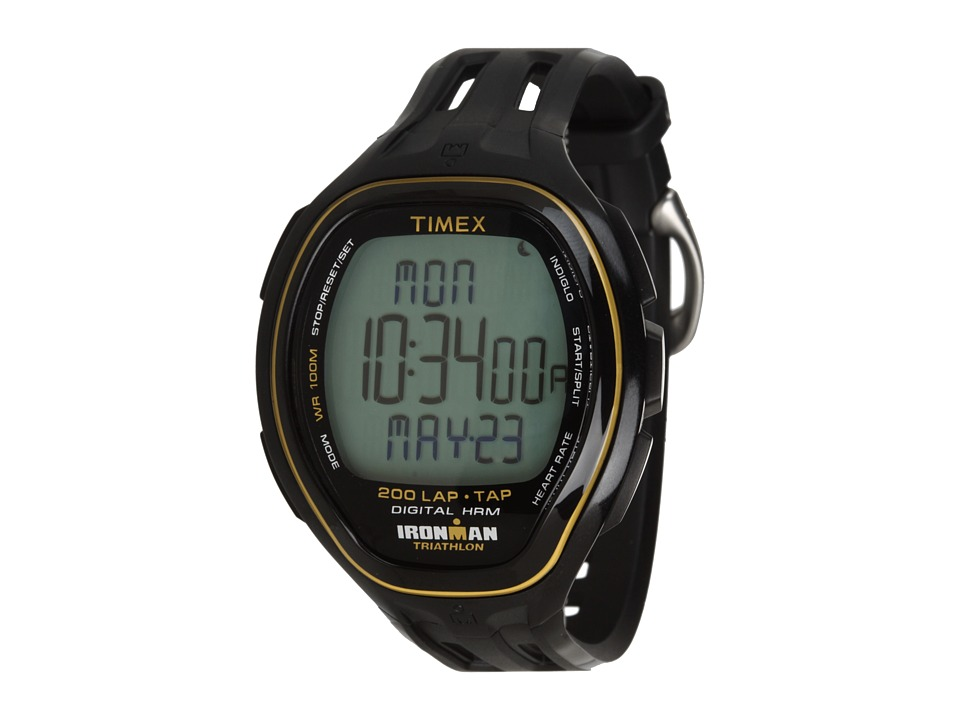 Timex - IRONMAN Target Trainer Heart Rate Monitor TapScreen Black/Yellow Resin Strap Watch (Black/Yellow) Watches