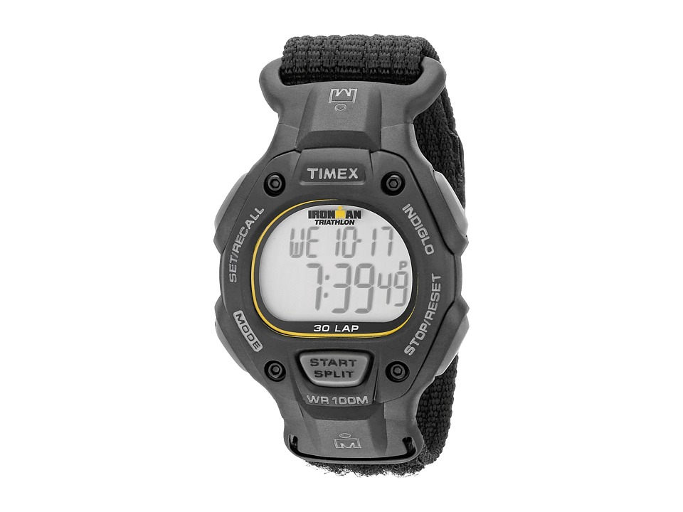 Timex - IRONMAN(r) Traditional 30-Lap Full-Size Black/Yellow Fast Wrap Velcro Strap Watch (Black) Digital Watches
