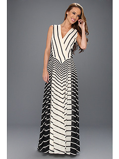 SALE! $291.99 - Save $353 on Halston Heritage Sleeveless A Line Stripe Printed Gown (Black Stripe Print) Apparel - 54.73% OFF $645.00