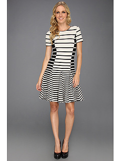 SALE! $244.99 - Save $200 on Halston Heritage Short Sleeve Stripe Dress w Flare Skirt (Black Stripe Print) Apparel - 44.95% OFF $445.00