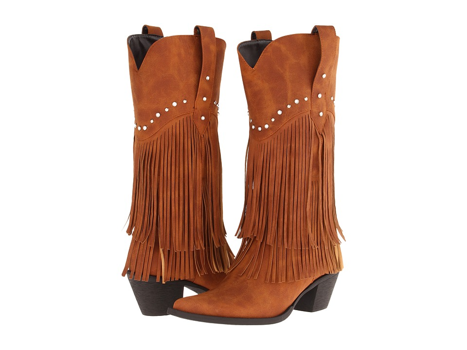 Roper - 12 Stud and Fringe Boot (Tan/Crystal Stud) Cowboy Boots