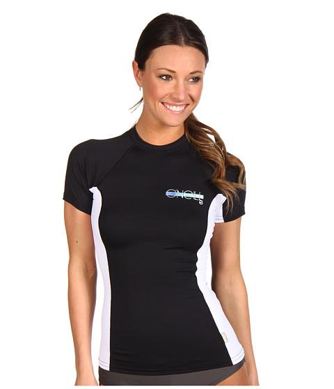 O'Neill - Skins S/S Crew (Black/White/Black) Women's Swimwear
