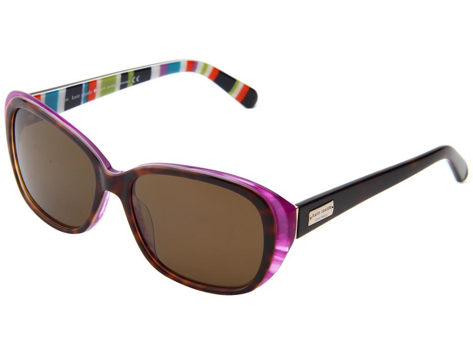 Kate Spade New York - Hilde - Polarized (Tortoise Purple/Dark Brown Polarized) Fashion Sunglasses