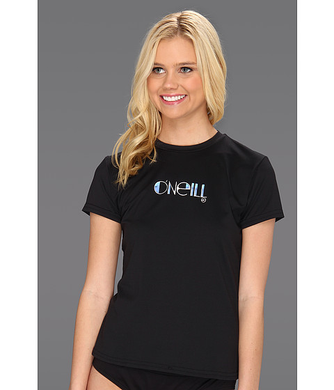 O'Neill - Skins S/S Rash Tee (Black) Women's Swimwear