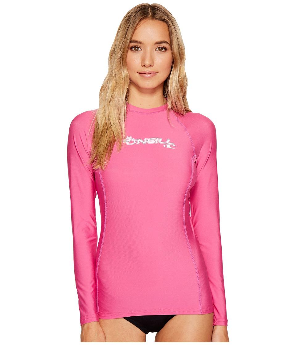 O'Neill - Basic Skins L/S Crew (Fox Pink) Women's Swimwear