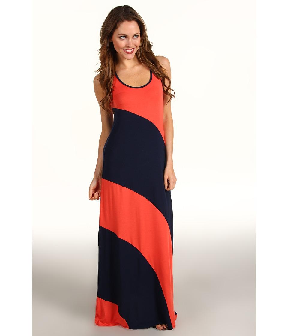 Michael Stars Stella Color Block Modal Jersey Maxi Dress Womens Dress (Orange)