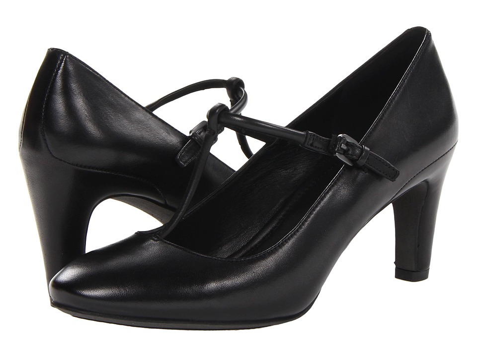 ECCO - Nephi T-Strap Buckle (Black Leather) High Heels