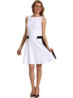 SALE! $71.99 - Save $56 on Calvin Klein Fit Flare Colorblock Sheath Dress (White Black) Apparel - 43.76% OFF $128.00