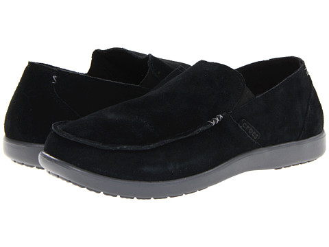 Crocs - Santa Cruz Suede II Loafer (Black/Charcoal) Men's Slip on Shoes