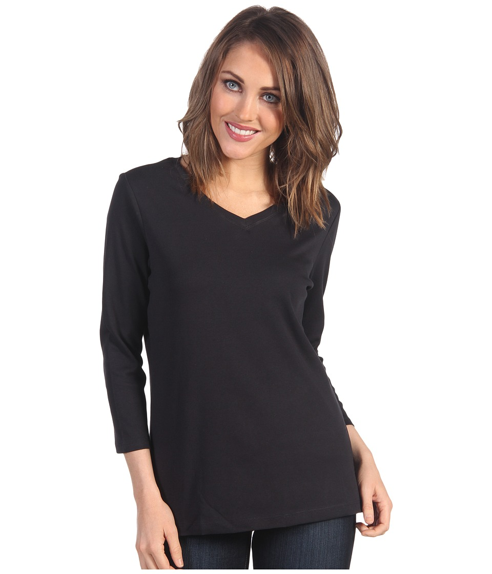 Pendleton - Three-Quarter Sleeve Rib Tee (Black) Women's T Shirt