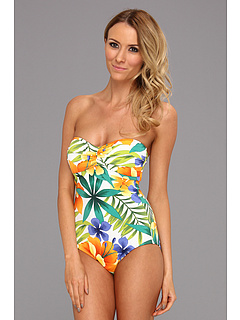 SALE! $66.99 - Save $80 on Tommy Bahama Happy Hawaii Shirred Bandeau Cup One Piece (Multi) Apparel - 54.43% OFF $147.00