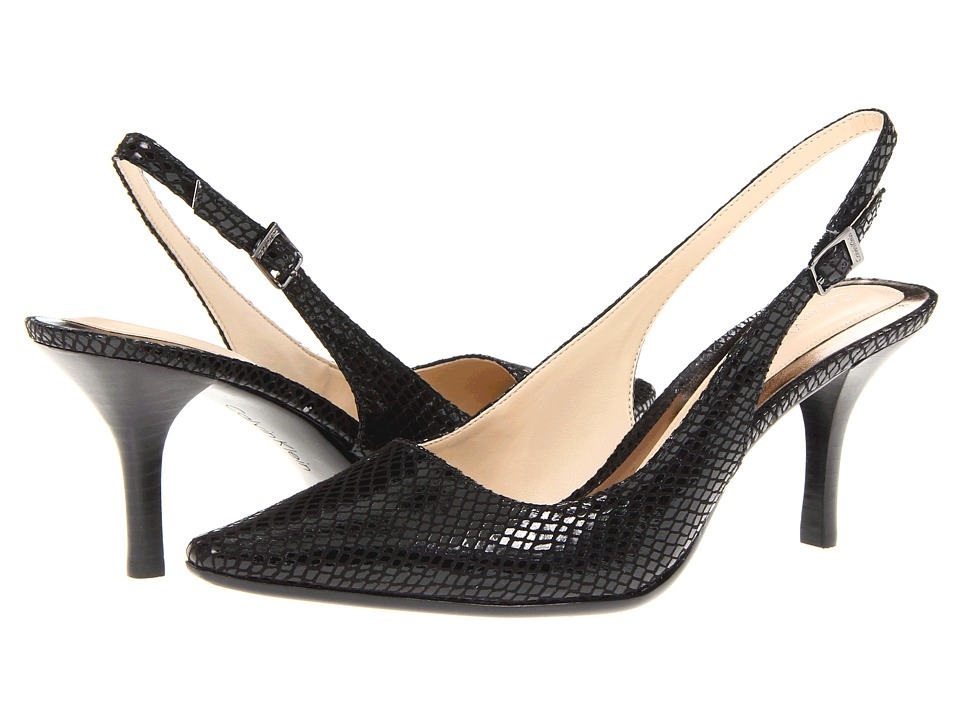 Calvin Klein - Day Classic Python (Black) Women's Sling Back Shoes