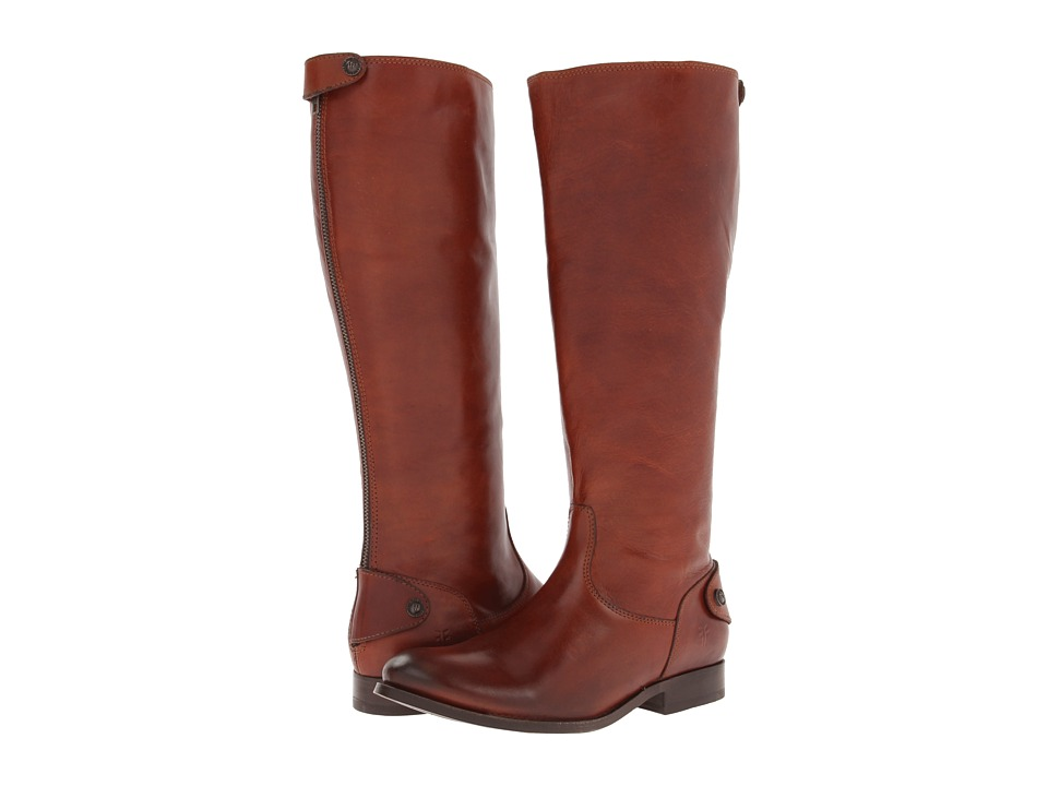 Frye - Melissa Button Back Zip Extended (Cognac Extended Soft Vintage Leather) Cowboy Boots