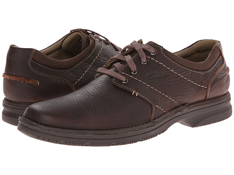Clarks - Senner Place (Dark Brown Tumbled Leather) Men's Lace Up Cap Toe Shoes