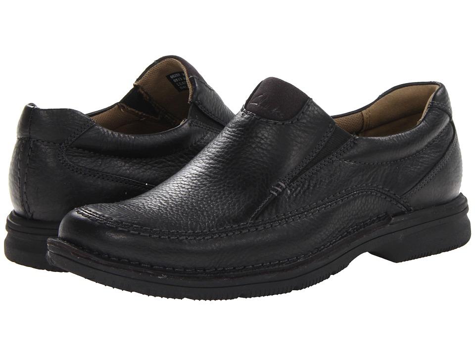 Clarks - Senner Lane (Black Tumbled Leather) Men's Slip-on Dress Shoes