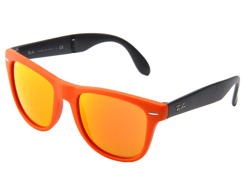 Ray-Ban - 0RB4105 Folding Wayfarer 54 (Matte Orange) Fashion Sunglasses