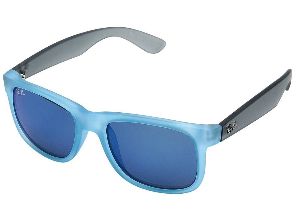 Ray-Ban - 0RB4165 Square Boyfriend 51 Medium (Rubber Azure/Blue Mirror) Fashion Sunglasses