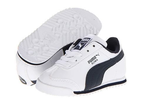 Puma Kids - Roma Basic (Toddler) (White/New Navy) Boys Shoes