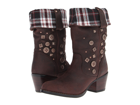 Durango - Philly 12 Turn Down Buttons Studs (Chocolate/Flannel) Cowboy Boots
