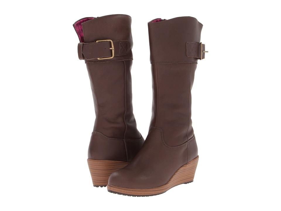 Crocs - A-Leigh Leather Boot (Espresso/Walnut) Women