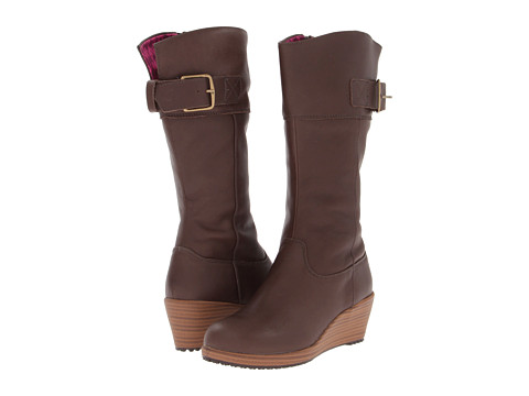 Crocs - A-Leigh Leather Boot (Espresso/Walnut) Women's Boots