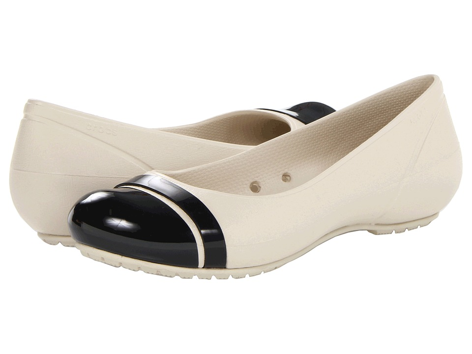 Crocs - Cap Toe Flat (Stucco/Black) Women's Flat Shoes