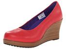 Crocs - A-Leigh Closed Toe Wedge (Dark Red/Walnut) - Footwear