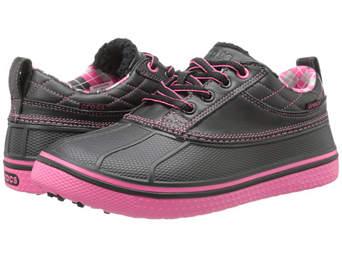 Crocs - AllCast Duck Golf Shoe (Black/Hot Pink) Women