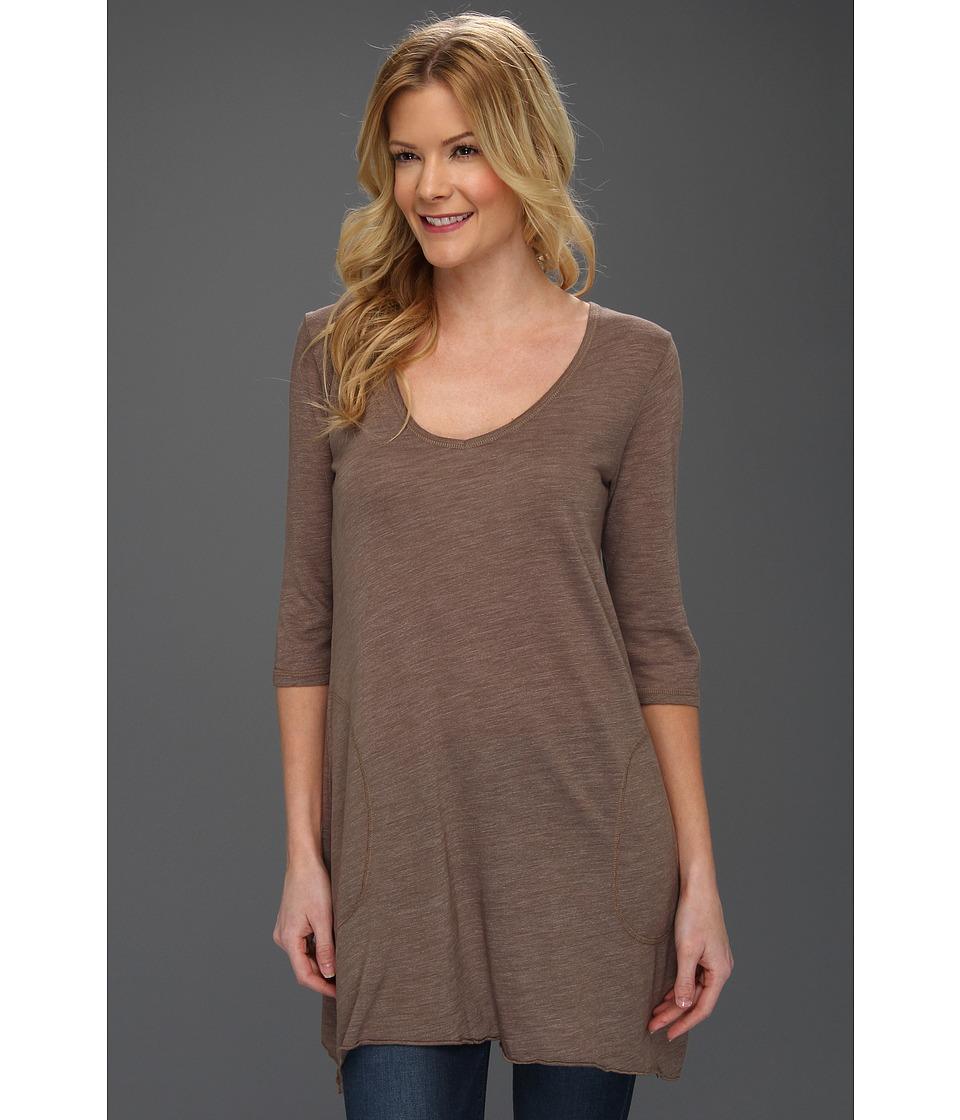 Allen Allen - Slub Angled 3/4 Tunic (Mushroom) Women's T Shirt