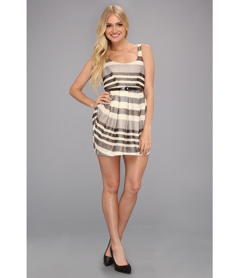 BCBGeneration - Multi Pleat Mini Dress (Natural Combo) Women