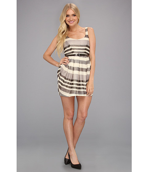 BCBGeneration - Multi Pleat Mini Dress (Natural Combo) Women's Dress